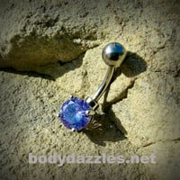 Purple Tanzinite Rhinestone Prong Set Belly Button Ring Navel Ring Belly Piercing 14ga 316L Surgical Stainless Steel Body Jewelry