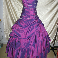 Handmade Custom Strapless Purple Pleated A Line Beaded Ball Gowns Formal Long Prom Evening Party Bridesmaid Cocktail Homecoming Dress Gown