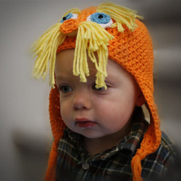 Lorax Orange Hat Crochet Pattern - Baby, Child, Teen, and Adult sizes. SALE - Buy 2 patterns, GET 1 FREE.