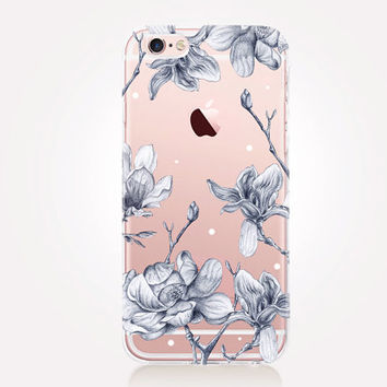Transparent Floral Phone Case - Transparent Case - Clear Case - Transparent iPhone 6 - Transparent iPhone 5 - Transparent iPhone 4