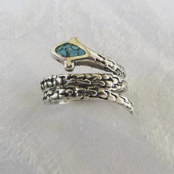 Vintage Sterling Silver Snake Ring, Turquoise Snake Wrap Ring, Serpent Ring, Turquoise Serpent, Size 6 Ring