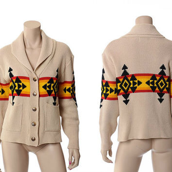 Vintage 70s Southwestern Indian Sweater 1970s Old West Native Blanket Aztec Shawl Collar Rockabilly Boho Knit Cardigan Jacket / S