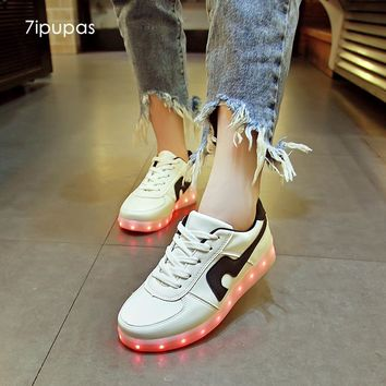 7ipupas 2017 Red-blooded Kid Led shoes boys girls usb charge luminous sneakers casual male lovers faminly glowing sneakers
