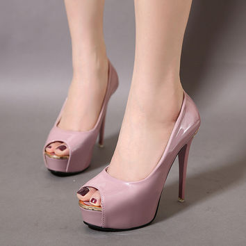 Peep Toe Korean High Heel Shoes = 4804995908