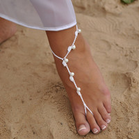 Beach wedding White and Pearl Crochet wedding Barefoot Sandals, Nude shoes, Foot jewelry, Bridal, Victorian Lace, Sexy, Yoga, Anklet