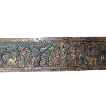 Indian Headboard Radha Krishna Hand Carved Headboards Wall Panel