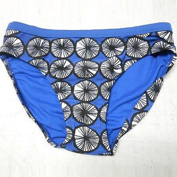 Marimekko Women's Bikini Swim Bottom, XLarge, Blue w/Black/White Circles
