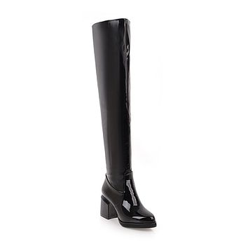 Patent Leather Over the Knee Boots Winter Shoes for Woman 4380