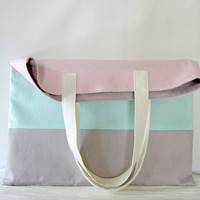 Linen Flat Tote Bag in Pastel Pink, Mint  and Grey - Beach, Shopping, Weekends