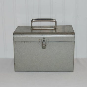 Unique Vintage Excelsior Metal File Box (c. Pre-1996), Stanford Connecticut, Office, Kitchen, Craft Room Storage, Recipes, Art Supplies