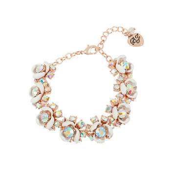 FLUTTERBYE FLOWER FLEX BRACELET: Betsey Johnson