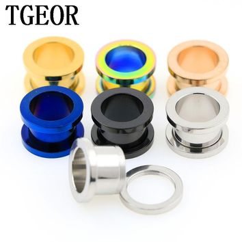 free shipping illusion cheaters 1 PCS big GAUGES EAR TUNNEL Stainless Steel TITANIUM PLATED COLORS PIERCING FLESH TUNNEL