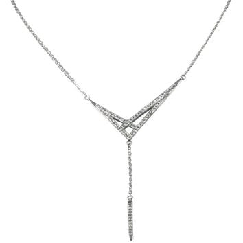 "Stainless Steel Necklace 16"" Studded Clear Crystal Drop 2"" Adjustable Clasp"