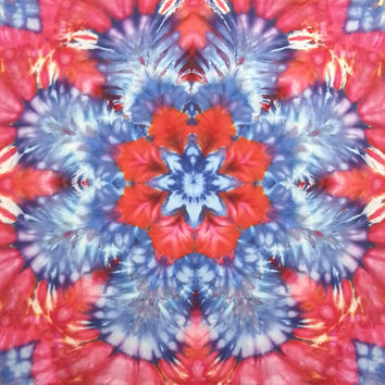 mandala star tie dye tapestry wall hanging red white and blue