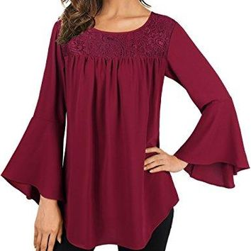 Faddare Womens Casual Bell Sleeve Rounding Neck Solid Chiffon Blouse Tops
