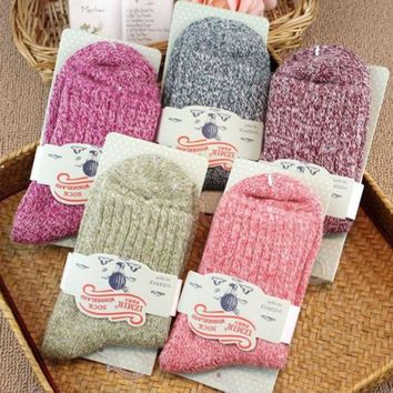 5 Pairs Women Ladies Wool Cashmere Thick Sock Soft Casual Winter Socks US Stock Women