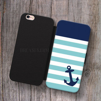 Monogram Nautical Anchor Minty Blue Stripe Wallet Leather Case for iPhone 4s 5s 5C SE 6S Plus Case, Samsung S3 S4 S5 S6 S7 Edge Note 3 4 5 Cases