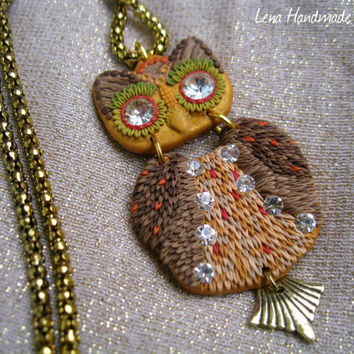 Little Owl Pendant by Lena Handmade Jewelry Picnic Autumn Winter Yellow Green Gold Brown Fall Pendant