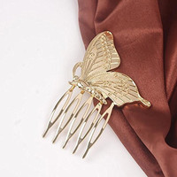 A&C Vintage Princess Butterfly Hair Combs, Fashion Hair Clips & Headwear for Women. (Gold)