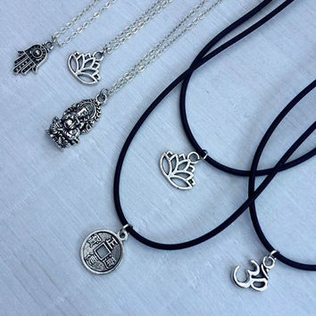 Hippie Spiritual Collection, Grunge Charm Choker, Ohm Necklace, Lotus Choker, Hamsa Necklace, Ganesha Choker, Chinese Coin, Silver