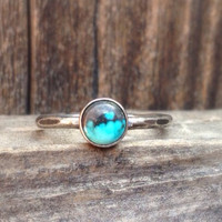 6mm unique natural turquoise set on hammered textured sterling silver band size 7 ready to ship
