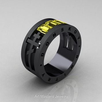 Dmitry Donskoy Mens 14K Matte Black Gold Yellow Sapphire Channel Cluster Wedding Band R419M-14KMBGYS