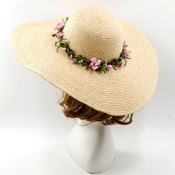 Muchique Summer Beach Sun Hats for Women Raffia Straw Floppy Hats with Flowers Trims