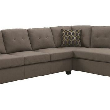 2 pc Powell collection contemporary style dark beige linen like fabric upholstered reversible sectional sofa