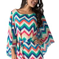 R. Rouge Women's Blue Multicolor Chevron Print 3/4 Sleeve Dress