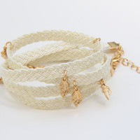 Braided White Wrap Bracelet with Gold Charms by TheUrbanLady