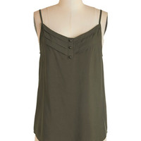 ModCloth Mid-length Spaghetti Straps Olive and Let Live Top