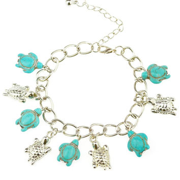 Turtle Turquoise Charm Bracelet & Bangle Charm Brand Color Link Chain Bohemia Style Jewelry Bracelets For Women Silver plating