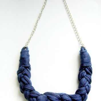Navy blue nautical knot, Tshirt yarn necklace, Knotted necklace, Braided Necklace, Cotton Neckace, Jersey Cotton Necklace, Stament Necklace.