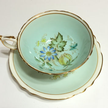 Antique Paragon Tea Cup, Powder Blue, Double Warranty, Flowers,1940s, Mother's Day, Wedding Gift