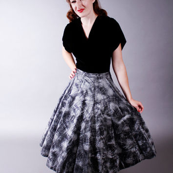 Vintage 1950s Dress - Velvet and Flocked Silver Party Dress - Silver Skies