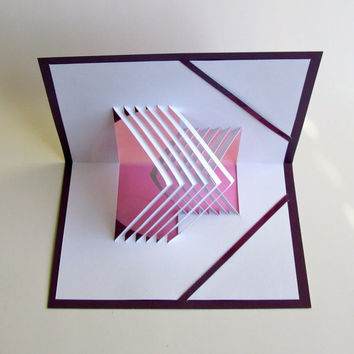 3D POP UP CARD of Geometric Lines in Opposite Directions With Intricate Cuts of Origamic Architecture Principles in Purple and White OOaK