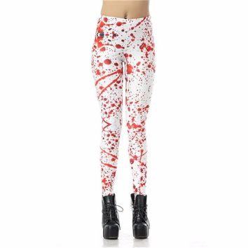 Blood Splatter Women's Red & White Slim High Waisted Elastic Printed Fitness Workout Leggings