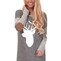 Charcoal Terry Top with Deer Print and Elbow Patch