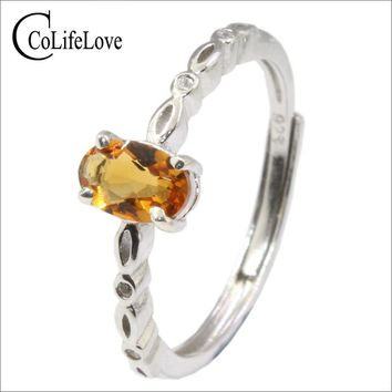 Simple citrine silver ring for office lady 4 mm * 6 mm natural citrine ring solid 925 silver citrine jewelry girl birthday gift