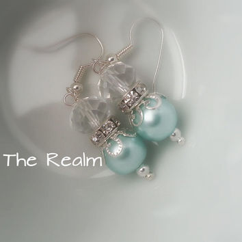 Mint Blue Pearl Earrings - Crystal and pearl earrings - Swarovski Elements - Wedding Jewellery - Bridesmaid - Gift Ideas For Her - Mothers