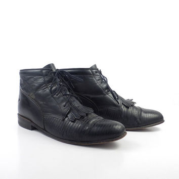 Roper Boots Vintage 1980s Justin Leather Lizard Black Granny Lace up Packer Women's size 7 1/2 B