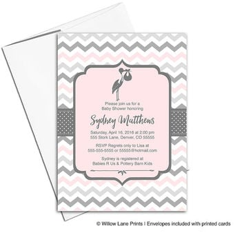 Gray and pink baby shower invitation girls | printable baby shower invite | stork baby shower invitations digital - WLP00857