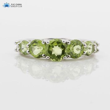 PJC Natural Gemstone Mix Size 2.88cts Round Shape Manchurian Peridot Sterling Silver 925 Ring