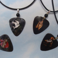 Leather Christian Necklace- Religious Guitar Pick Jewelry - Jesus, Praying Hands, Dove or Heart - Pikcard - Custom Color & Size