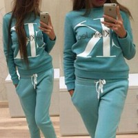 CK Calvin Klein Fashion Women Casual Letter Print Long Sleeve Sweater Pants Sweatpants Set Two-Piece Sportswear Green