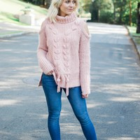 Rose Cold Shoulder Sweater