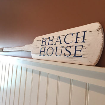 Beach House Decorative Rustic Wooden White Oar - Comes with hooks - boat paddle, wedding guest book, lake house decor, nautical decor