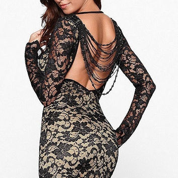 Thrilling Beaded Lace Bodycon Dress Long sleeve autumn-Winter Dresses 4XL plus size women clothing vestidos de fiesta LC2783 = 1956735620