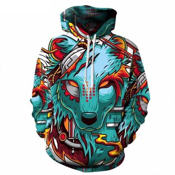 Funny Animal Cool Wolf 3D Colorful Pullovers