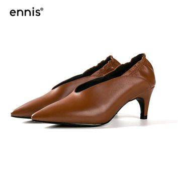 ENNIS 2018 Genuine Leather Sexy Pumps Pointed Toe Ladies High Heel Shoes High Quality Women Fashion Office Shoes Soft Heels P729